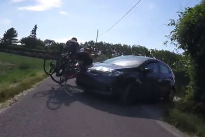 Careless Female Driver Hits A Group Of Cyclists
