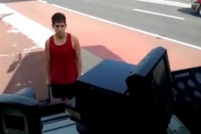 Crazy Man Attacking Bus In Sydney