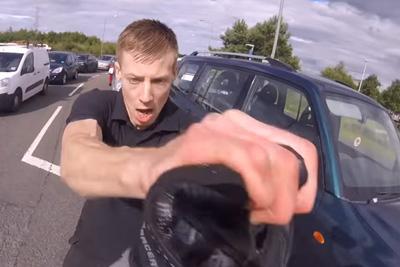 Watch Shocking Stramash As Falkirk Driver Attacks Biker In Road Rage