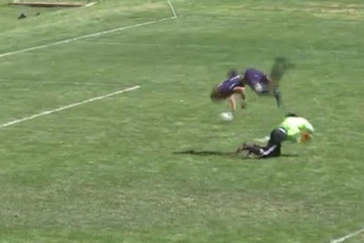 High School Striker Scores After Flipping Over Goalie