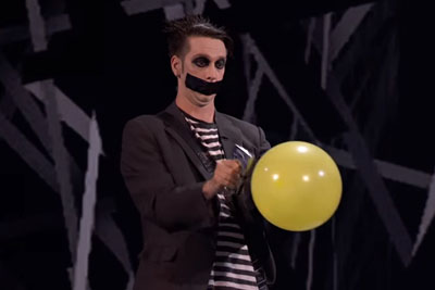 Tape Face Makes Everyone Laugh With Staple Gun And Balloons