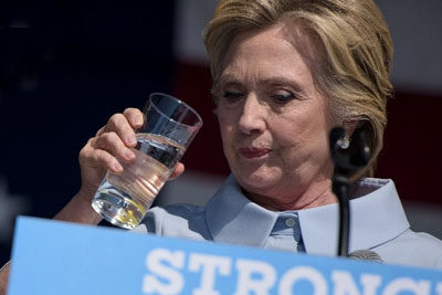 Hillary Clinton Coughs Up Mysterious Green Substance Into Water During Cleveland Rally