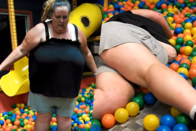 Fat Lady Gets Stucked In Ball Pit