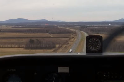Emergency Landing On Highway Captured By Inboard Camera In Plane