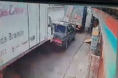 Car In Lebanon Gets Crushed Between Two Trucks