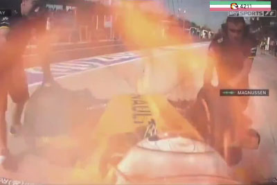 F1 Driver Kevin Magnussen Was Literally On Fire On Race In Malaysia