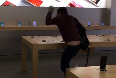 Angry Dude Destroys Apple Store With Steel Ball After Being Denied A Refund