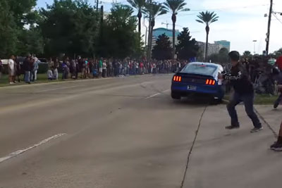 Driver Loses Control Over His Mustang GT350 At 'Cars And Coffee' In Houston, Almost Hits Kids