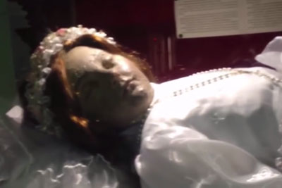 Terrifying Moment Corpse Of Child Saint Opens Her Eyes