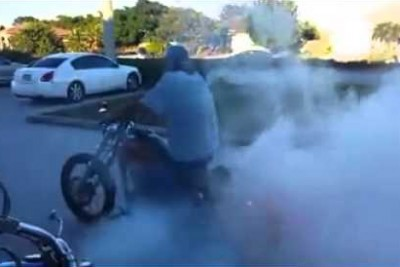 Harley Rider Does A Burnout Then He Fails Hard