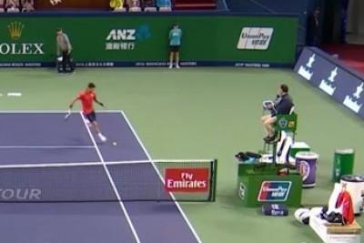 Novak Djokovic Kicks A Tennis Ball Few Inches Above Referee's Head