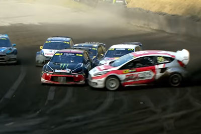 The Most Awesome Overtake In First Turn Of Rallycross