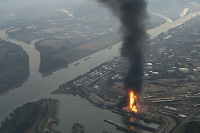 Moments After Explosion In German Chemical Plant Captured From Airplane