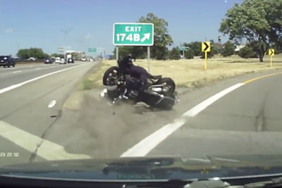 Cop On Motorcycle Crashes Hard Into Cammer Exiting The Highway