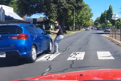 Idiot Driver Almost Kills Woman In The Crosswalk