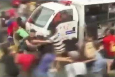Shocking Video Shows Police Van Ramming Into Protesters in Philippines