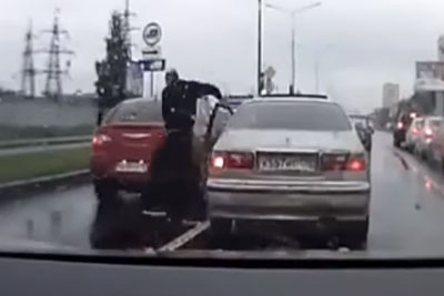 Aggressive Driver Instantly Regrets His Road Rage Decision