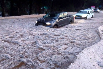 Bloemfontein Streets In South Africa Filled With Hail And Rain Water After Hailstorm