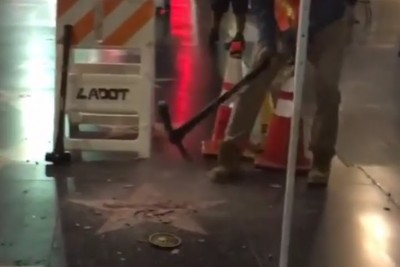 VIDEO: Donald Trump's Hollywood Star Was Smashed To Pieces Last Night