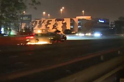 Multiple Car Crash On Highway In Los Angeles, CA Filmed By Camera Man