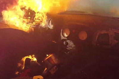 Race Car Catches On Fire, Driver Barely Escapes Death