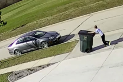 Garbage Can Takes Out Kid In Most Epic Way