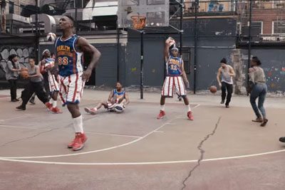 Harlem Globetrotters And Cast Of STOMP Make Rhythm With Basketballs