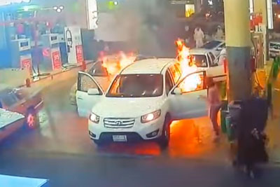 Heroes Save The Situation In A Gas Station When Car Starts To Burn