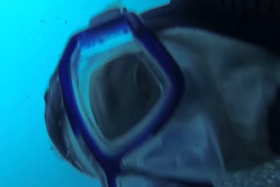 A Cargo Ship Passes Over A Scuba Diver, Almost Hitting Him