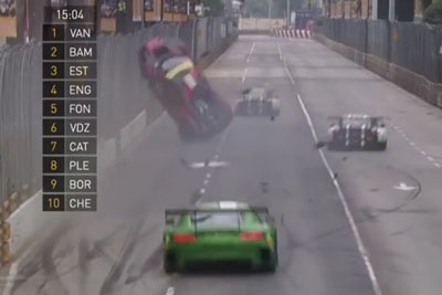 Driver's Audi R8 Goes Airborne During The Macau Grand Prix