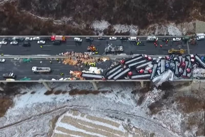 56 Vehicles Pile Up On Expressway In China Captured With Drone