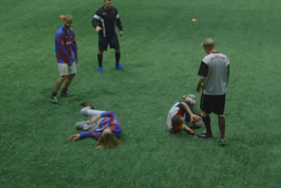 Football Players Play Match Under The Influence Of Alcohol