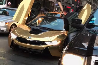 Gold BMW i8 Gets Smashed By Stranger In NYC