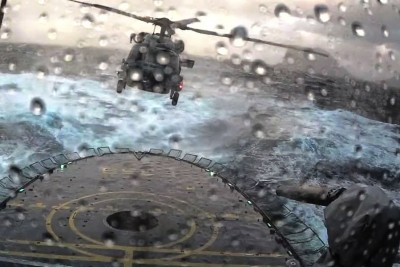 Challenging Landing On A Ship In Rough Seas For A Helicopter