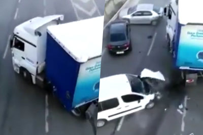 Truck Causes A Massive Accident And Big Pileup On Road