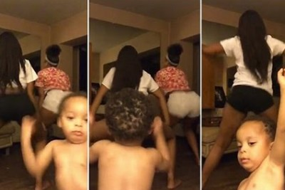Hilarious Moment Baby Boy Joins In With Dancing Girls