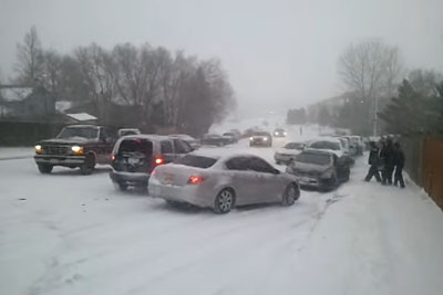 30 Car Pile Up Captured On Camera During The Snow Storm In Colorado Springs