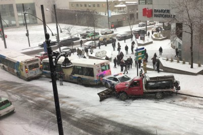 Montreal's First Snow Of The Year Caused Multiple Crashes On Sloped Street