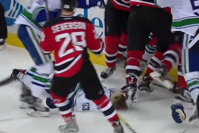 Vancouver Canucks Star Philip Larsen Knocked Out Cold On The Ice With Huge Hit Leading To Brawl