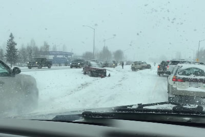 Car Pileup On A Snowy Highway Leads To Other Cars Crashing In Cammer
