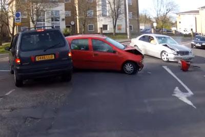 Motorcyclist In London Captures Head On Collision On His Helmet Cam