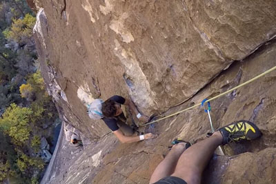 Climber In Red Rocks, Nevada Gets Passed By Free Solo Climber
