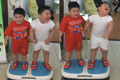 These Two Kids Are Having The Best Time On This Fat Loss Vibration Plate