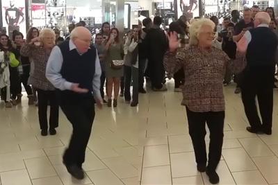 Elderly Couple Steals Spotlight At Mall Event