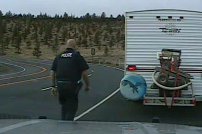 Semi Truck Rolls Over Infront Of Prineville Police Officer After He Stops Another Vehicle