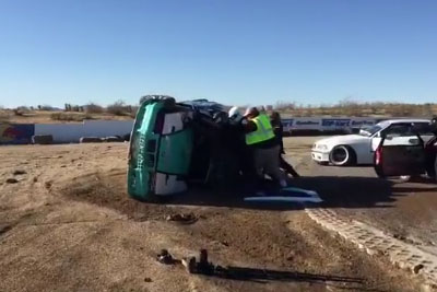 Watch These Drift Racers Rush To Help Their Fellow Driver After His Car Flips