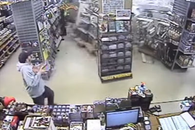 SUV Driver Lost Control Of His Car, Slamming Through The DeeP Comic Book Store