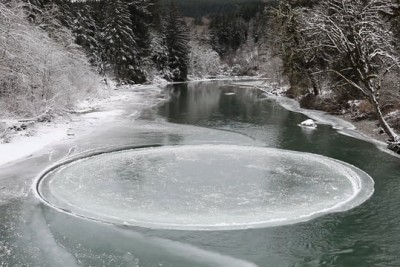 Ice Circle Spinning On Middle Fork Snoqualmie River