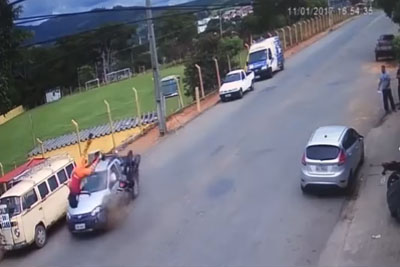 Motorcyclist In Brazil Survives Almost Unharmed After Really Brutal Collision