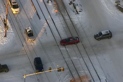 Good Samaritans Rushed To Push Car Off The Rail Track Just Moments Before Train Came